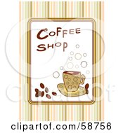 Royalty Free RF Clipart Illustration Of A Coffee Shop Sign With Bubbles Coffee Beans And Stripes by MilsiArt