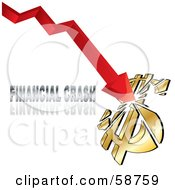 Royalty Free RF Clipart Illustration Of A Red Arrow Breaking A Dollar Symbol With Financial Crash Text