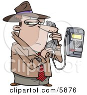 Undercover Private Eye Detective Talking Secretively On A Telephone