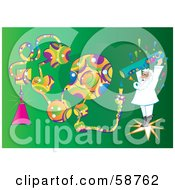 Royalty Free RF Clipart Illustration Of A Mad Scientist Pouring Colorful Shapes Out Of A Test Tube