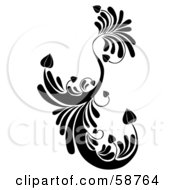 Black Floral Element With Heart Shaped Leaves