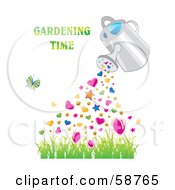 Royalty Free RF Clipart Illustration Of A Watering Can Pouring Hearts And Stars Over Grass With A Butterfly And Gardening Time Text by MilsiArt
