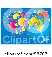 Royalty Free RF Clipart Illustration Of A Tipping Cocktail Beverage With Colorful Splashes On Blue by MilsiArt
