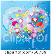 Royalty Free RF Clipart Illustration Of A Cocktail Glass With Colorful Heart Splashes And Butterflies On Blue by MilsiArt