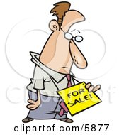 Depressed Business Man Wearing A For Sale Sign Around His Neck Clipart Illustration