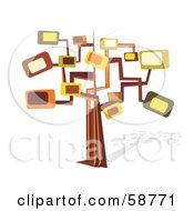 Royalty Free RF Clipart Illustration Of A Retro Styled Tree With Rectangle Branches by MilsiArt
