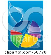 Royalty Free RF Clipart Illustration Of A Colorful Pie Chart With Separating Pieces On A Blue Background