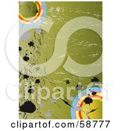 Royalty Free RF Clipart Illustration Of A Grungy Green Military Background With Splatters And Circles