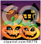 Royalty Free RF Clipart Illustration Of Silhouetted Bats Flying Over A Cemetery And Halloween Pumpkins By A Spooky House