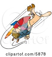 Business Man Heading To Work While Flying Attached To A Jet Pack Clipart Illustration