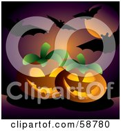 Royalty Free RF Clipart Illustration Of A Purple Moonlit Sky Silhouetting Bats Over Halloween Pumpkins