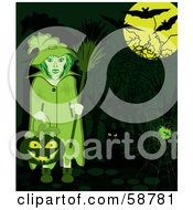 Royalty Free RF Clipart Illustration Of A Green Witch Holding A Pumpkin Basket Standing By Her Cat And A Spider Web Under Bats And A Full Moon
