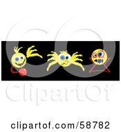 Royalty Free RF Clipart Illustration Of A Digital Collage Of Three Yellow Ghost Spider And Vampire Emoticons
