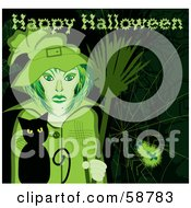 Royalty Free RF Clipart Illustration Of A Halloween Witch With Her Broom And Cat Standing By A Spider Web With A Greeting