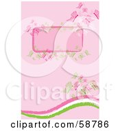 Pink Background With A Blank Text Box Waves And Elegant Butterflies