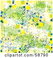Royalty Free RF Clipart Illustration Of An Abstract Background Of Green White Blue And Yellow Squares Circles And Sparkles