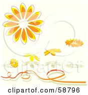 Royalty Free RF Clipart Illustration Of Orange Daisy Flower Objects With Shadows And A Ribbon
