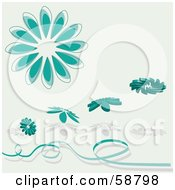 Royalty Free RF Clipart Illustration Of Teal Daisy Flower Objects With Shadows And A Ribbon