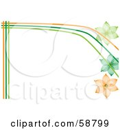 Royalty Free RF Clipart Illustration Of A Border Of Orange And Green Lines And Wire Flowers On White