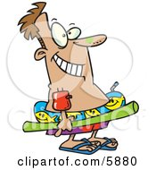 Man With Sunscreen On His Nose Floaties On His Arm And Float Toys Ready To Swim Clipart Illustration