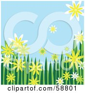 Royalty Free RF Clipart Illustration Of A Border Of Yellow Green And White Flowers And Grass Against A Blue Sky