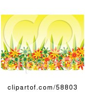 Royalty Free RF Clipart Illustration Of A Flower Garden With Green Orange And Yellow Blooms by kaycee