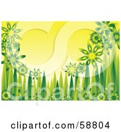 Royalty Free RF Clipart Illustration Of A Background Of Shiny Green Flowers And Grass Blades On Yellow