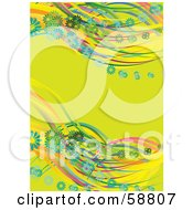 Royalty Free RF Clipart Illustration Of Rainbow Waves Of Green And Blue Daisies On A Lime Green Background