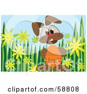 Royalty Free RF Clipart Illustration Of A Bunny Holding An Orange Easter Egg On A Grassy Background
