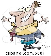 Business Man Clowning Around While Standing On A Chair Clipart Illustration