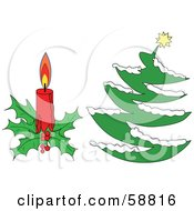 Royalty Free RF Clipart Illustration Of A Digital Collage Of A Christmas Candle And Christmas Tree Over White by kaycee