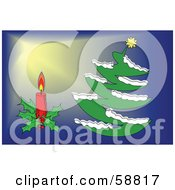 Royalty Free RF Clipart Illustration Of A Digital Collage Of A Christmas Candle And Christmas Tree Over Blue And Yellow by kaycee