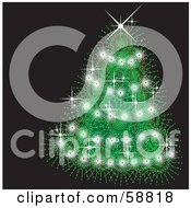 Royalty Free RF Clipart Illustration Of A Magical Green Christmas Tree Adorned In Sparkles by kaycee