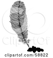 Royalty Free RF Clipart Illustration Of A Fluffy Feather With Black Ink Drips by kaycee