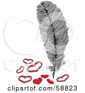 Royalty Free RF Clipart Illustration Of A Fluffy Feather With Solid And Outlined Hearts by kaycee