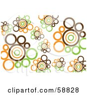 Royalty Free RF Clipart Illustration Of A Background Of Brown Orange And Green Retro Circles On White