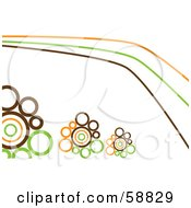 Royalty Free RF Clipart Illustration Of Orange Brown And Green Lines And Retro Circles On White