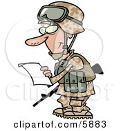Marine Soldier Man In A Camouflage Uniform And Helmet Reading A Letter Clipart Illustration