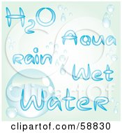 Royalty Free RF Clipart Illustration Of A Digital Collage Of Water Words In Blue With Droplets