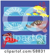 Digital Collage Of Three Fish Turtle And Squid Animals Nature And Wildlife Banners
