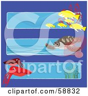 Digital Collage Of Three Ocean Banners With Fish A Turtle And Squid