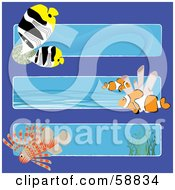 Royalty Free RF Clipart Illustration Of A Digital Collage Of Three Ocean Banners With Marine Fish