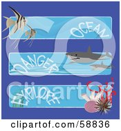 Digital Collage Of Three Fish Shark And Coral Ocean Danger And Explore Banners