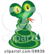 Coiled Green Snake With Yellow Eyes