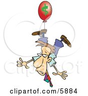 Business Man Being Carried Away By A Red Inflation Balloon Clipart Illustration