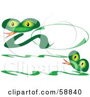 Royalty Free RF Clipart Illustration Of A Friendly Green Snake Logo And Banner