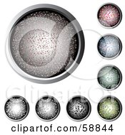 Digital Collage Of Colorful Sparkled Web Buttons Rimmed In Chrome