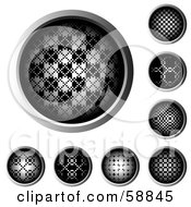Royalty Free RF Clipart Illustration Of A Digital Collage Of Halftone Web Buttons Rimmed In Chrome