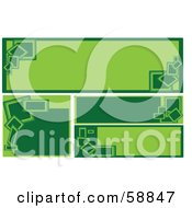 Royalty Free RF Clipart Illustration Of A Digital Collage Of Square And Rectangular Blank Green Banners Version 2