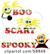 Digital Collage Of Three Boo Scary And Spooky Yellow Halloween Emoticons